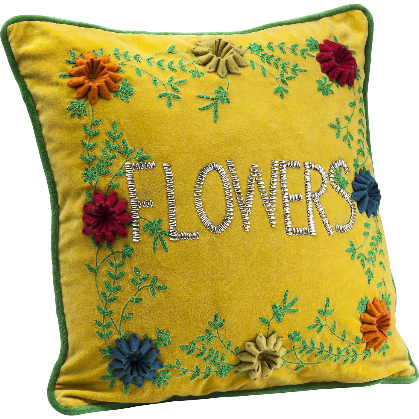 kissen flowers yellow 45x45cm kare design mutoni m bel. Black Bedroom Furniture Sets. Home Design Ideas