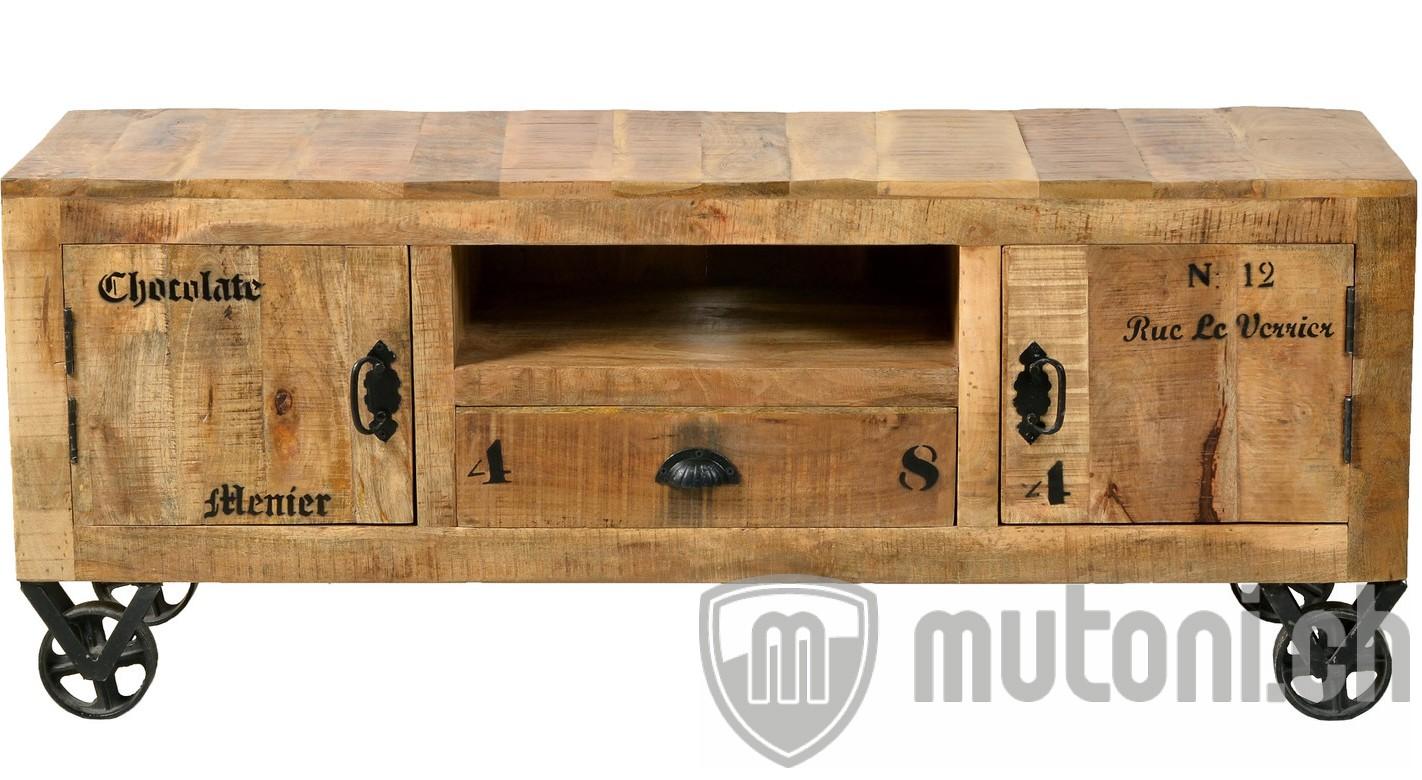 tv lowboard vintage natural wood natur antik schwarz 140 mutoni living mutoni m bel. Black Bedroom Furniture Sets. Home Design Ideas