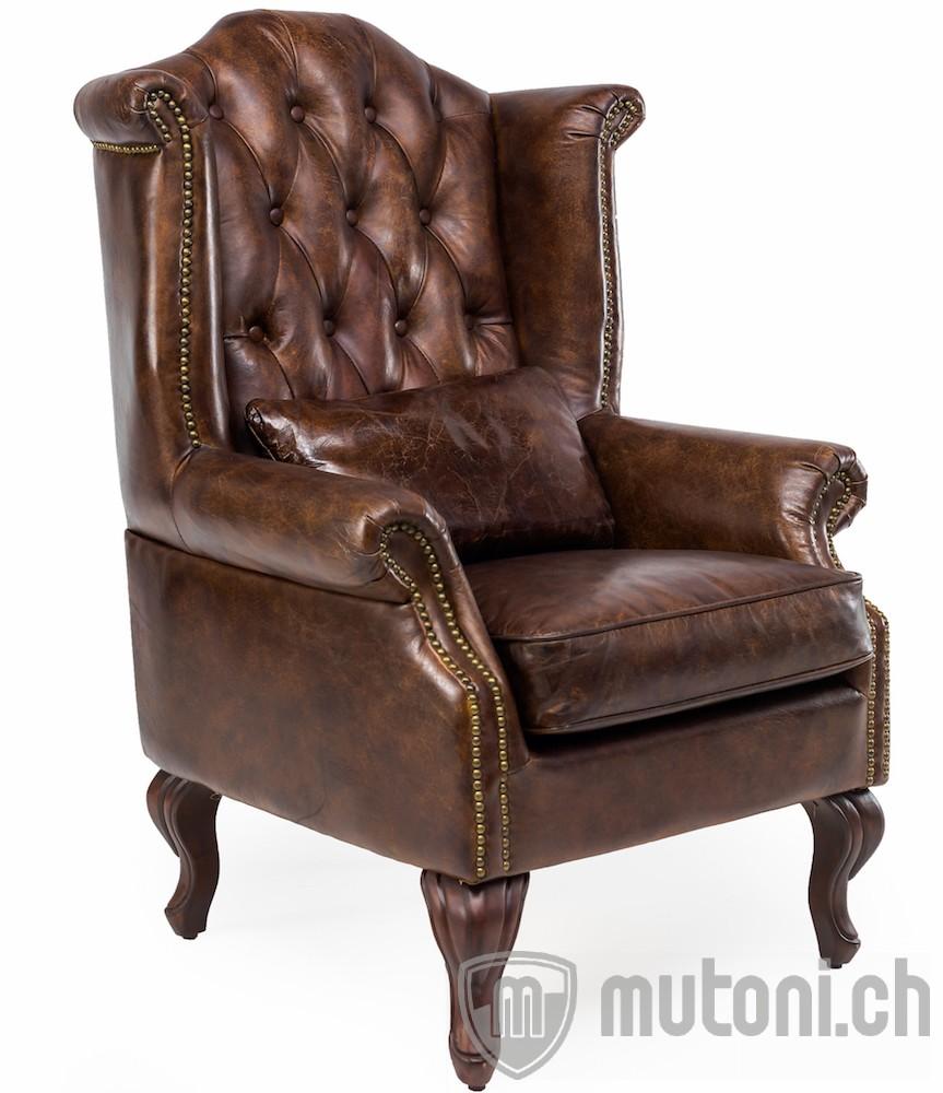 Ohrensessel chesterfield vintage leder crewe ohrensessel for Wohnzimmer sessel vintage