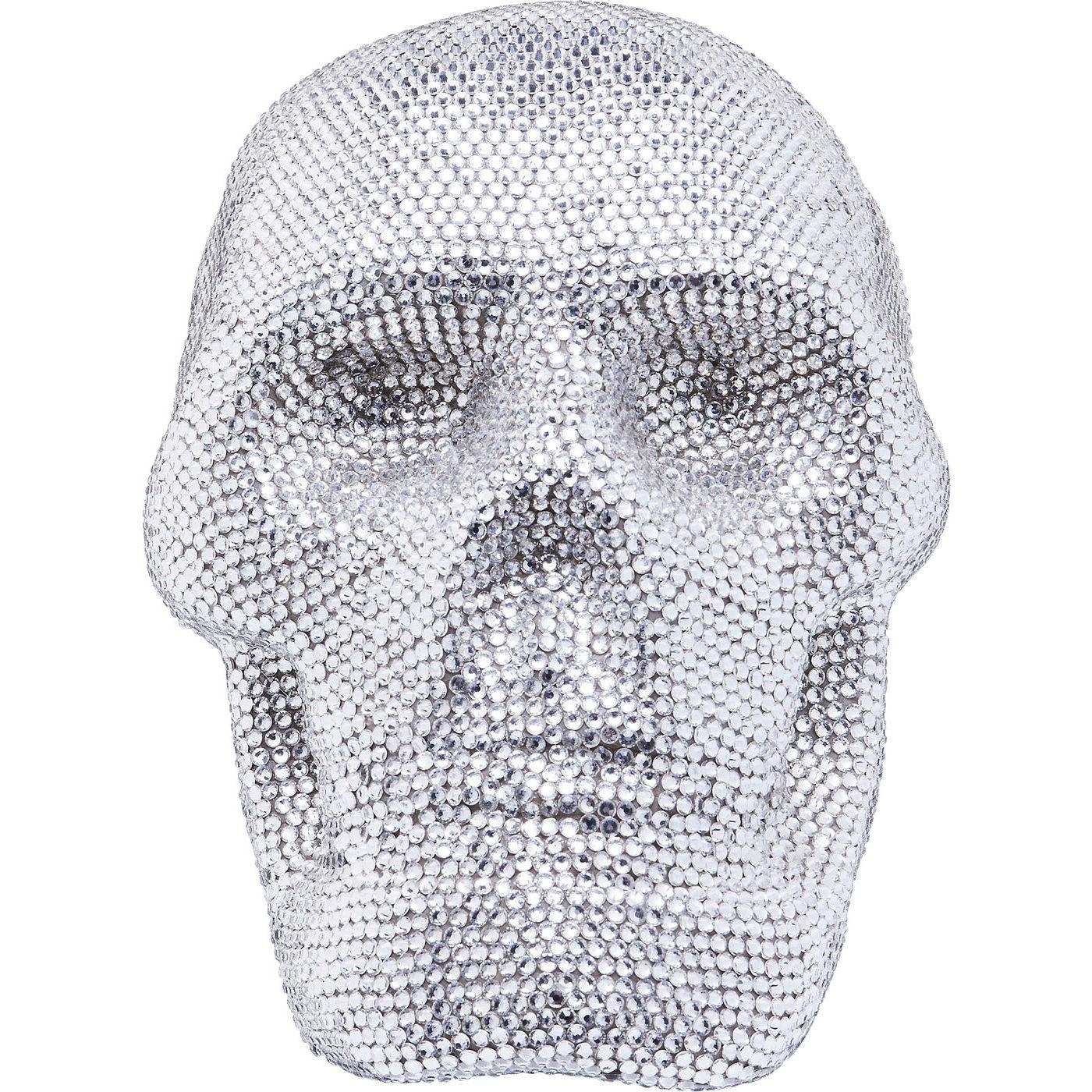 Deko Kopf Crystal Skull Silber Small