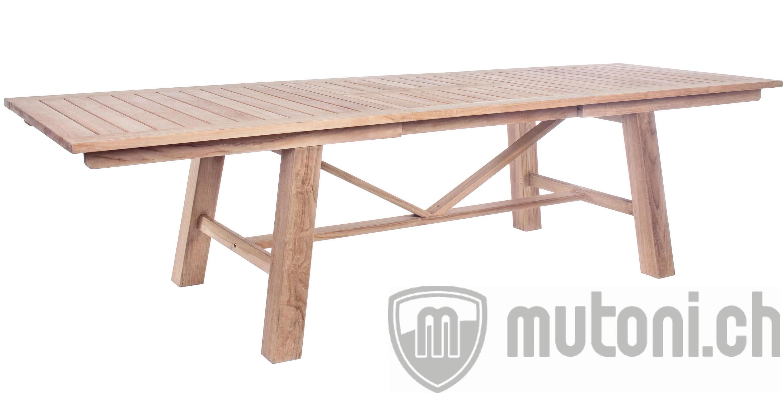 Holz ausziehtisch maryland 220 300 x100 mutoni garten for Holz ausziehtisch