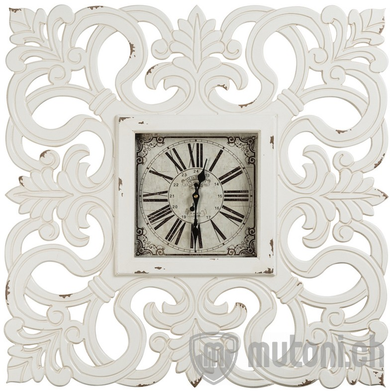 wanduhr vintage barock weiss wanduhren uhren accessoires mutoni m bel. Black Bedroom Furniture Sets. Home Design Ideas