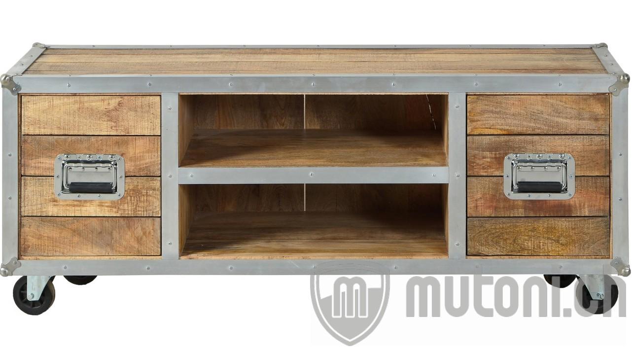 tv lowboard vintage wood flightcase natur silber 140 mutoni living mutoni m bel. Black Bedroom Furniture Sets. Home Design Ideas