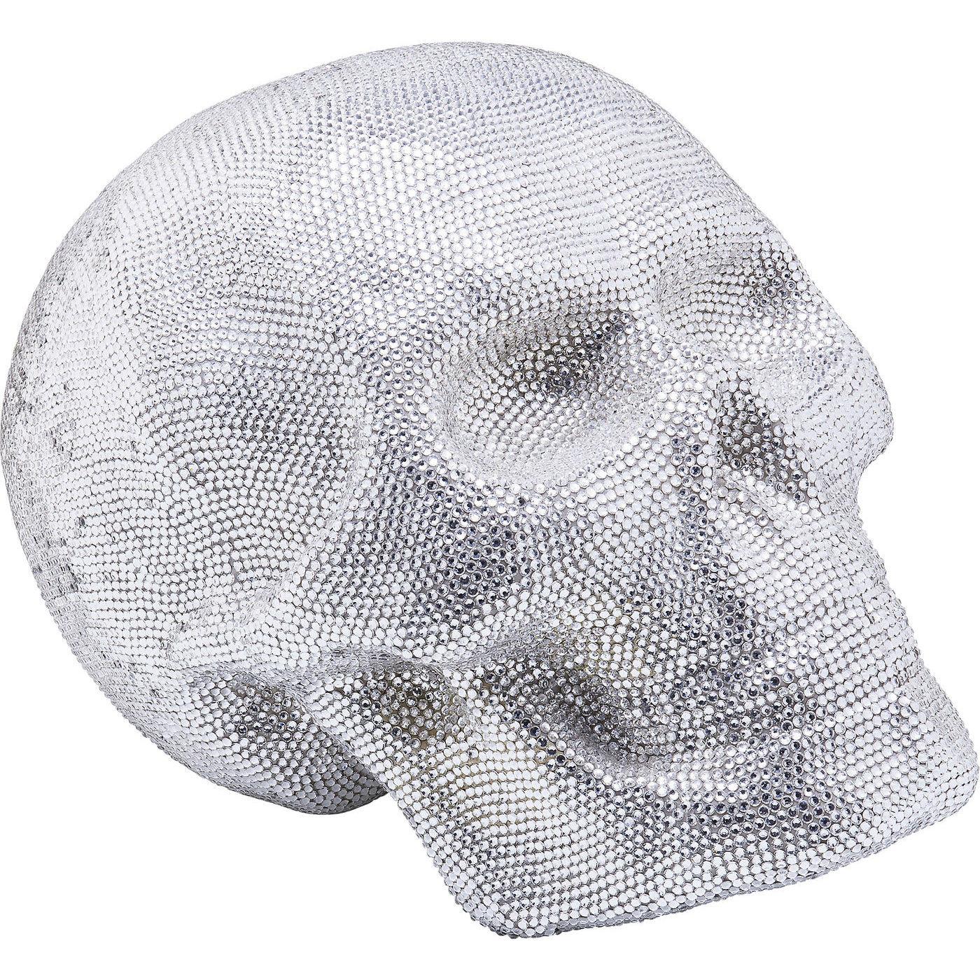 Deko Kopf Crystal Skull Silber Big