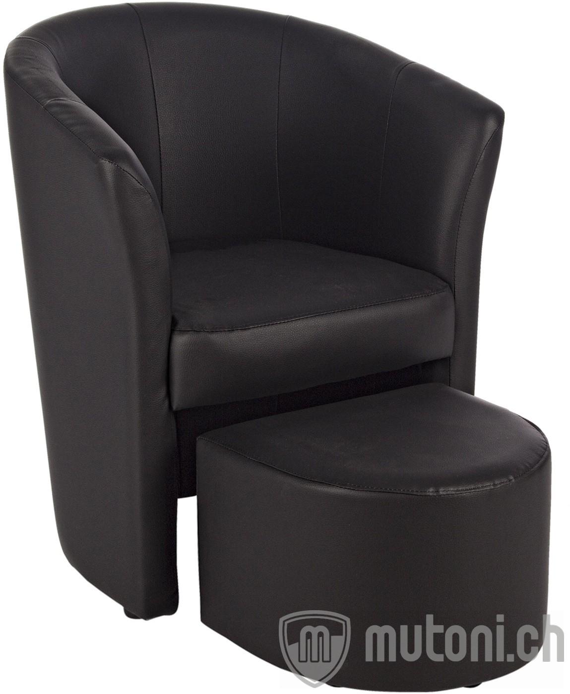 loungsessel rita mit hocker schwarz loungesessel sessel wohnzimmer m bel mutoni m bel. Black Bedroom Furniture Sets. Home Design Ideas