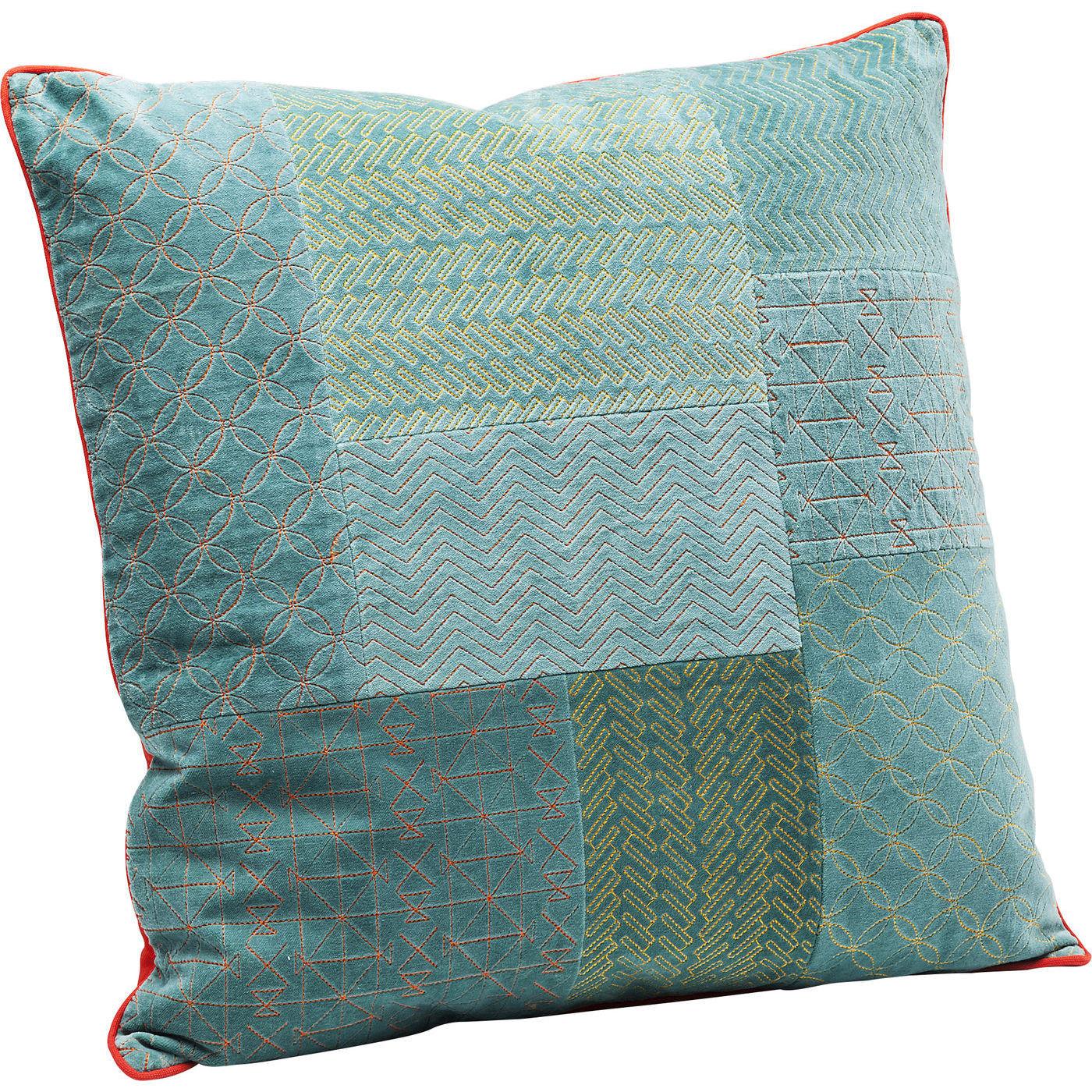 kissen patchwork bright t rkis 50x50cm kare design mutoni m bel. Black Bedroom Furniture Sets. Home Design Ideas